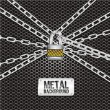 Chains locked. Together on a background of metal with holes royalty free illustration