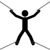 In chains. A man is chained from his hands and legs. It is a stick figure vector Stock Photo