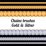 Chains metal brushes - gold and silver. Royalty Free Stock Photos