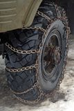 Chains On Tyre Royalty Free Stock Images