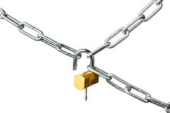 Chains and open lock Stock Photos