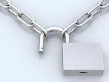 Chains and opened padlock Royalty Free Stock Photography