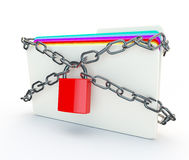 Chains and padlocks around a folder of secret confidential infor Royalty Free Stock Images