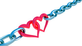 Chains with red heart Royalty Free Stock Photos