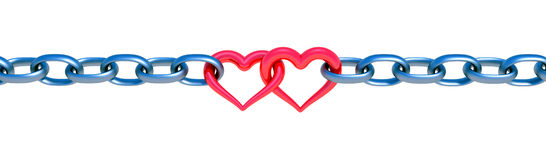 Chains with red heart Stock Photo