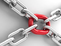 Chains with red link  2 Stock Images