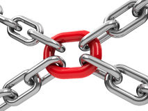 Chains with red link  3 Stock Images