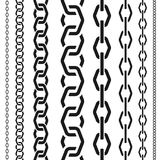 Chains set of different scale, unusual polygonal shape, seamless vertical pattern, black silhouette vector illustration. Chains set of different scale, unusual stock illustration
