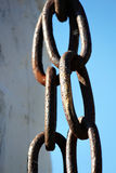 Chains on the shackle post. Chains on a shackle post at an old fort Stock Photos