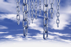 Chains in sky. Strong steel chains hanging in the sky Stock Photography