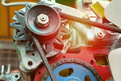 Chains in the system of the engine. vintage color. Stock Photo