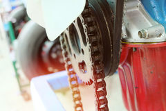Chains in the system of the engine. vintage color. Royalty Free Stock Photos