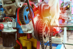 Chains in the system of the engine. vintage color. Royalty Free Stock Photo