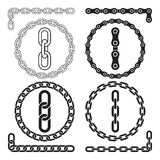 Chains. Vector illustration. Chain icons, parts, circles of chains. The file contains pattern brushes for all the four types of chains stock illustration