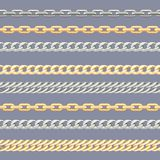 Gold and silver сhains. Horizontal seamless pattern with metal сhain vector illustration