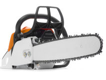 Chainsaw. A chainsaw in the studio royalty free stock images