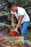 Chainsaw. Image of male with chainsaw Royalty Free Stock Images