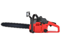 Chainsaw. Red Chainsaw isolated on a white background Stock Photos
