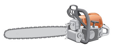 Chainsaw. Illustration of a heavy duty chainsaw used to cut and trim trees and firewood Stock Photos