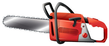 A chainsaw. Illustration of a chainsaw on a white background Royalty Free Stock Image