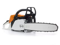 Chainsaw. A chainsaw in the studio stock photo