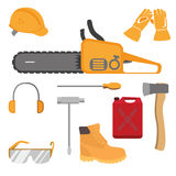 Chainsaw and accessories. Flat style set. Vector illustration Stock Photos