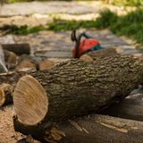 Chainsaw on the background of sawn logs. firewood for the winter royalty free stock image