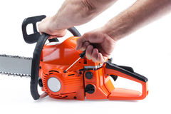 Chainsaw being started Royalty Free Stock Images