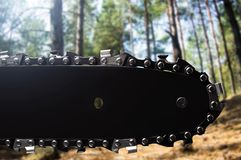 Chainsaw black sharp blade closeup. Photo of a closeup black chainsaw blade on day forest background Royalty Free Stock Photography
