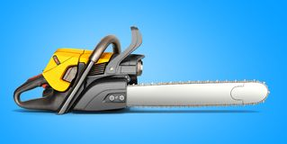 Chainsaw on blue background 3d illustration. Chainsaw on blue background 3d Royalty Free Stock Image
