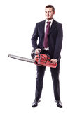 Chainsaw businessman Royalty Free Stock Images