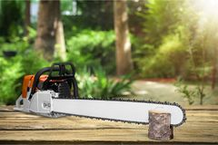 Chainsaw. Saw chain old electric chain saw tool royalty free stock photos