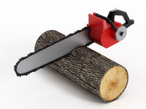 Chainsaw Cutting Timber Log Royalty Free Stock Image
