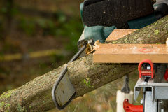 Chainsaw. A chainsaw cutting wood in the garden royalty free stock images