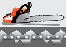 Chainsaw and enlarged chain teeth. Isolated vector on grey background.  Wood cutting tool for timber workers or logging Royalty Free Stock Image