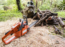 Chainsaw and firewood Royalty Free Stock Photography