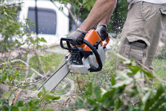 Chainsaw In The Forest Royalty Free Stock Photography