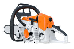 Chainsaw gasoline machine. Sawing equipment. 3D rendering Royalty Free Stock Photography