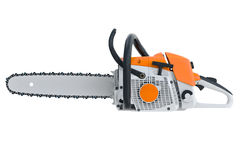 Chainsaw gasoline metal, side view. Chainsaw gasoline metal with horizontal saw, side view. 3D rendering Royalty Free Stock Photo