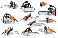 Chainsaw gasoline orange set. Chainsaw gasoline orange, white and black, modern style set. 3D rendering Royalty Free Stock Photo