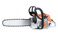 Chainsaw gasoline orange. White and black, modern style. 3D rendering Royalty Free Stock Photos