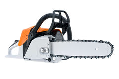 Chainsaw gasoline white. Professional tool. 3D rendering Stock Photos
