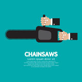 Chainsaw. Hand Holding Chainsaw Vector Illustration Royalty Free Stock Photos