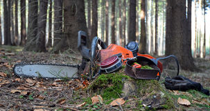 Chainsaw, helmet, tools Stock Photos