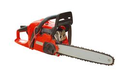 Chainsaw. Isolated on white background stock photos