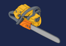 Chainsaw isometric flat vector 3d Royalty Free Stock Image