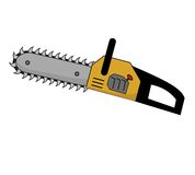 Chainsaw with large teeth. A chainsaw with very large scary teeth and a yellow body Stock Photography