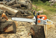 Chainsaw on a log outdoors Stock Photography
