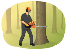 Chainsaw. Logger in helmet cutting tree trunk with chainsaw. Timber harvesting. Natural forest restoration Stock Image