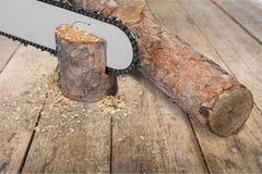 Chainsaw. Lumberjack gardening equipment wood work tool lumber industry cutting stock image